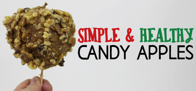 Our Simple Healthy Candy Apple Recipe is quick fall treat that you can feel good about eating and giving the kids. All it takes is apples, dates and nuts!