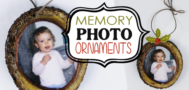 Memory Photo Ornaments from Wood Slices