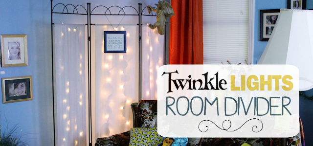 You can never have too many twinkle lights! Learn how to transform a plain room divider into something magical with some twinkle lights and safety pins!