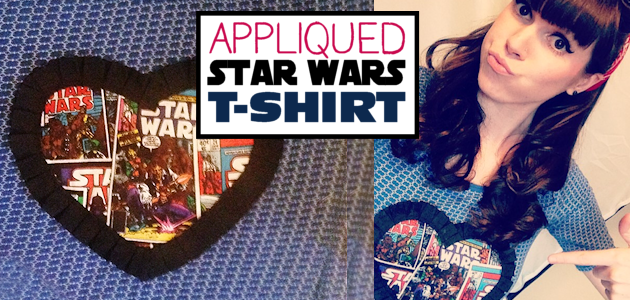 Create and wear a Star Wars T-shirt with pride! Grab a shirt, a scrap of Star Wars material and some fabric edging. You can use fabric glue or sew it on.