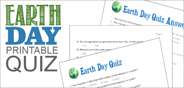 Grab our free printable Earth Day quiz! It's full of interesting and fun facts. The three page pdf has two pages of questions and a page with the answers.