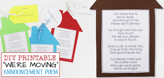 Moving can be bittersweet but these printable poetic moving announcements are a fun way to let your neighbors know you'll miss them and to keep in touch!