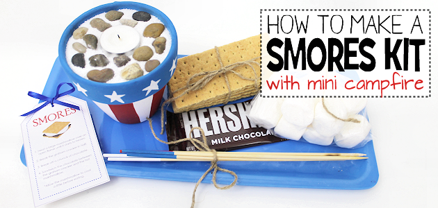 This little DIY smores kit comes complete with a mini campfire! It's great for summer and can even be used inside the house. It also makes a great gift.