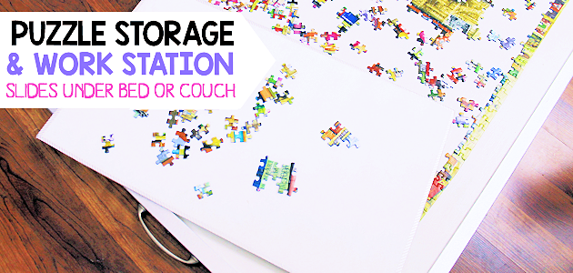 Quick DIY Jigsaw Puzzles Work Station & Storage Set