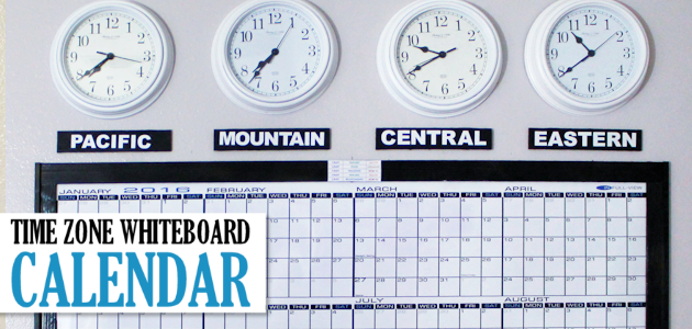 Time Zones Whiteboard Calendar & Free Printable