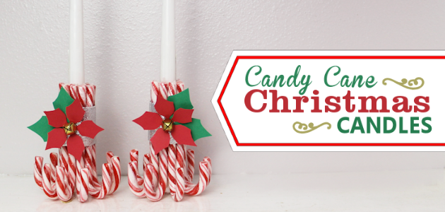 Make these merry candy candy Christmas candles! They're easy, quick, inexpensive and beautiful. Plus there's a free poinsettia pattern included to adorn them!