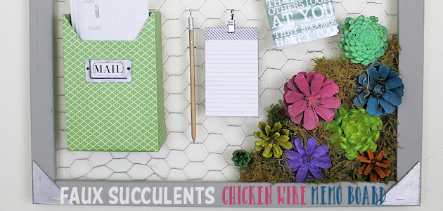 Make a Country Kitchen Chicken Wire Frame Memo Board with Faux Succulents