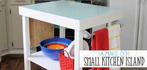 A small kitchen island can be made from things you already have or even rough lumber. Some paint and contact paper and you've got the extra space you need!