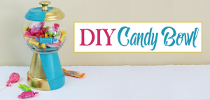 A beautiful gold & teal version of the classic DIY gumball machine, made from a clay pot & a glass bowl. Use it for gum, candy or a variety of other things!