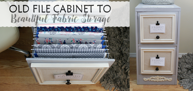 2 Drawer File Cabinet Makeover For Fabric Storage