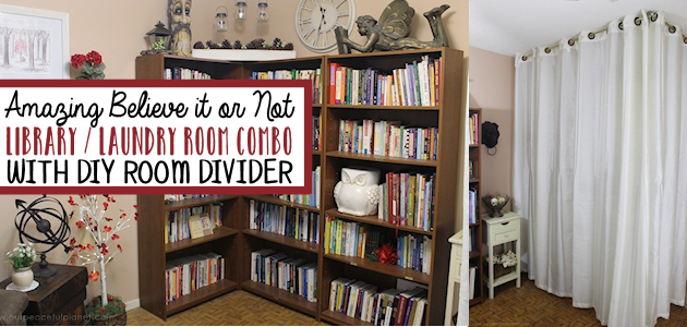 Easy Room Divider for a Gorgeous Global Library Laundry Room Combo!