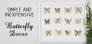 Hard to believe but this beautiful DIY framed butterfly decor piece was made with an old black frame that was missing the glass and some toy butterflies!
