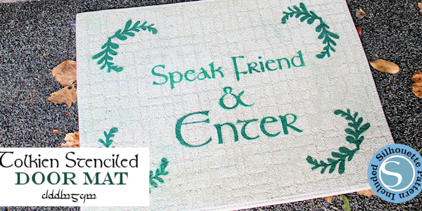 "Make a custom door mat with the famous phrase from The Lord of the Rings ""Speak, Friend and Enter"" using our free stencil templates and some contact paper!"
