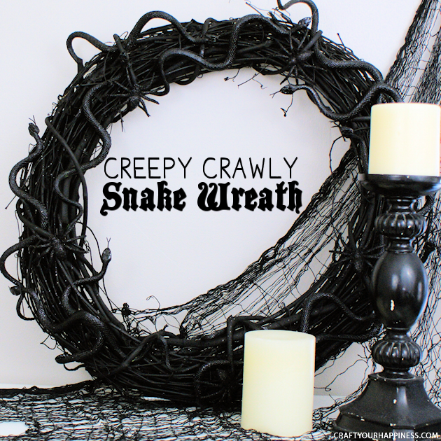 Make this creepy crawly DIY Halloween wreath to frighten up your door! It's cheap & quick to make. Use any bugs you like, but we choose spiders & snakes.