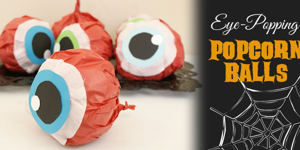 Hand out these giant eye popping halloween popcorn balls and you'll be the favorite house on the block! Also great for parties. Healthy recipe included!