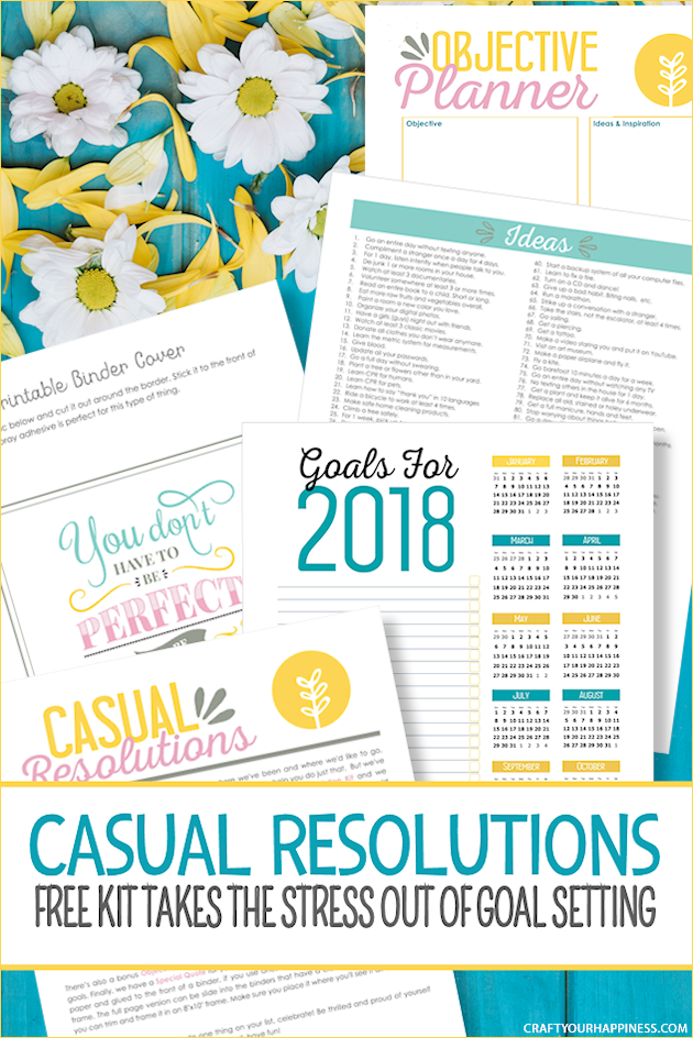 Make goal setting fun with our free printable Casual Resolutions Kit! It's a way to take the stress out New Year's resolutions. Lot of ideas are included!