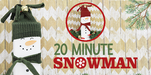 20 minutes is all you need to make this darling little inexpensive wooden snowman Christmas decor. Plus he won't melt! Great project for kids too!