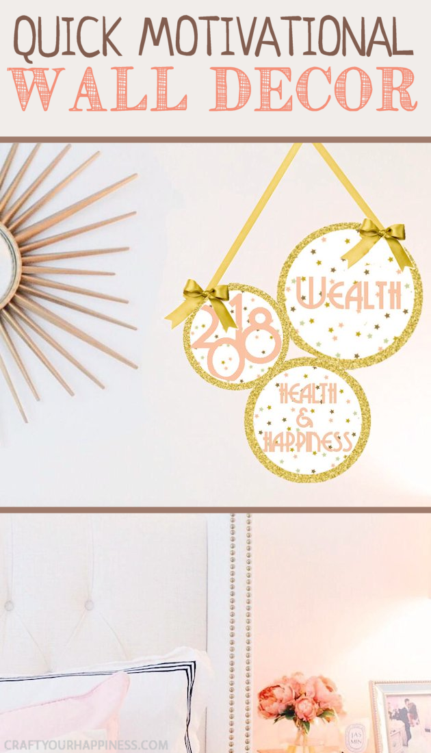 Put more positivity in your life! Make this quick motivational DIY wall decor hanging in 10 minutes using our patterns, printouts, posterboard and a bit of ribbon. You can never have too many positive reminders around!