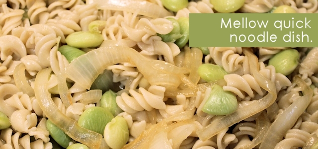 Lima Beans, Pasta & Onions
