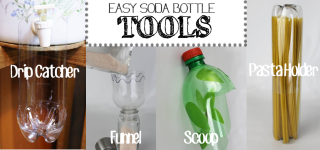 Easy Soda Bottle Tools: Drip Catcher, Funnel, Scoop & Pasta Holder
