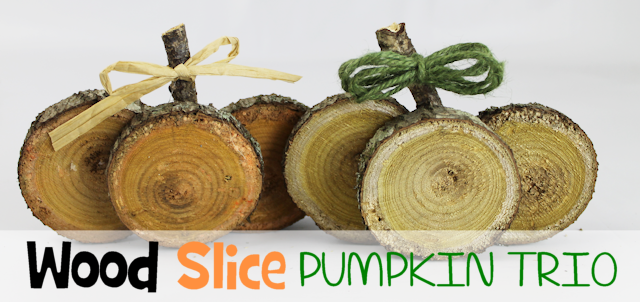 Easy DIY Fall Decorations : Wood Slice Pumpkin Trio