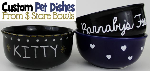 Personalized Dog Bowls from Dollar Store Dishes
