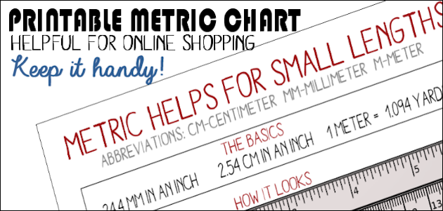 Helpful Metric Chart : Quickly Learn Lengths