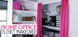 We turned a messy home office closet into a beautiful, fun and organized place to keep track of supplies. Check out our clever ideas for your own office!