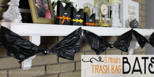 How to Make 5 Minute Trash Bag Bat Halloween Decorations