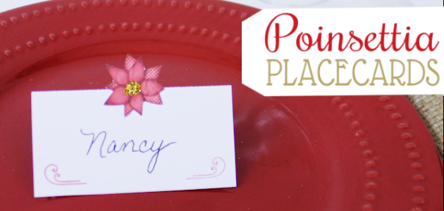 Free Poinsettia Printable Christmas Placecards