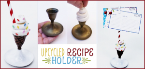 This fun portable recipe holder is made from an old brass candle stick holder and some clay! It's super easy and we've got free matching recipe cards also!