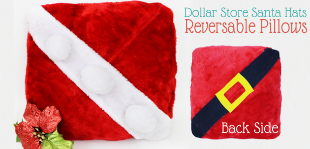 How to Make a Reversible Pillow from Dollar Store Santa Hats