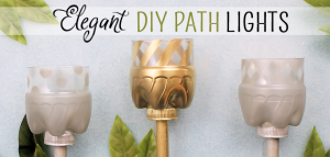 Make your outdoor pathways shine and glimmer with these elegant gold and silver path lights made from soda bottles, dowels and battery operated tea lights.