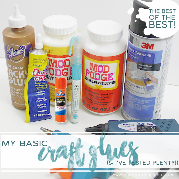 There are hundreds of crafting glues out there. Here's some advice from someone who's tested plenty and the basic glues I keep on hands at all times.