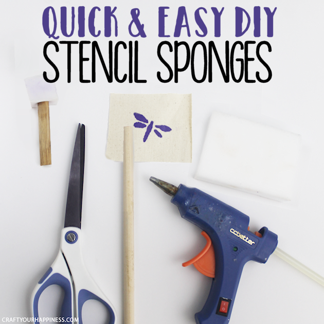 Here's a quick way to make stencil sponges, or as they are sometimes called stipplers. All you need is a dowel, glue, scissors and a foam sponge!