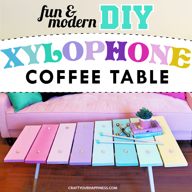 Learn how to make a xylophone DIY coffee table! It's super fun, cheap, & easy to make & adds a lot of color & whimsy to your space. Printable supply list.
