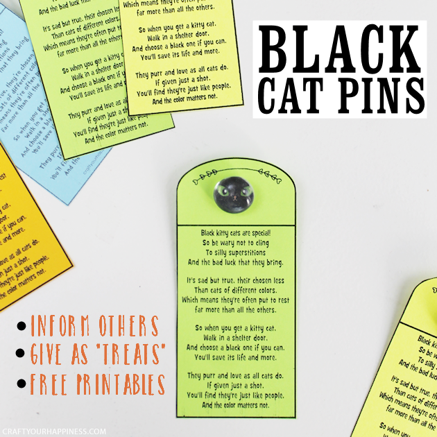 Black cats are the least adopted & most euthanized in the US. Pass out these easy to make DIY Lucky Black Cat Charms & help dispel harmful superstitions!