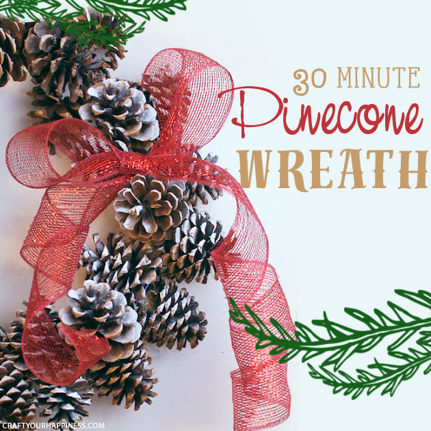 Learn how to make a pinecone wreath in 30 minutes! You can decorate the base wreath however you wish. We used a big red bow. Plus it's an upcycle project!