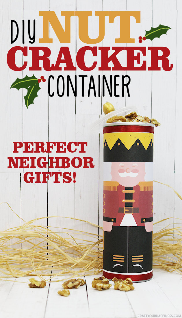 This darling DIY nutcracker container is perfect for neighbor gifts during the Christmas season. Fill it with nuts or anything else! Free printables!
