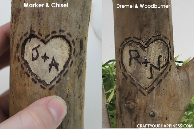 If you're looking for a unique gift idea for couples this darling carved sweetheart branch is perfect and inexpensive. You can make it with a couple of carving tools, which are cheap, and a marker. Or if you happen to own a rotary or Dremel tool and/or a wood burner, you can use those. We show both ways of making it.