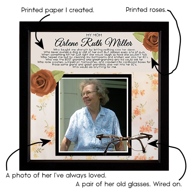 A memory photo box is a wonderful thing to remind us of loved ones and pets who have passed. They can be filled with actual objects that belonged to that person or pet. You can make them as simple or as complex as you wish. Even just a photo with artificial flowers glued on one corner would be beautiful.