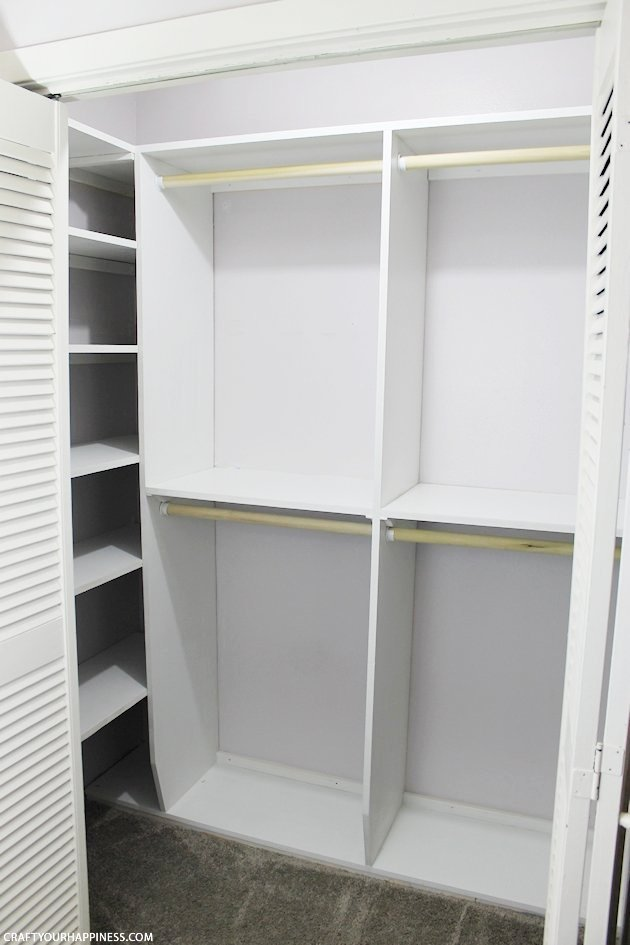 Could your closet use a little more space and organizing? We'll show you how to build closet shelves along with the rods and cubby holes. We tripled our space! Even amateur woodworkers (like us) can do it with a few tools. Ours was measured and designed in the free software Google SketchUp. (File included.)