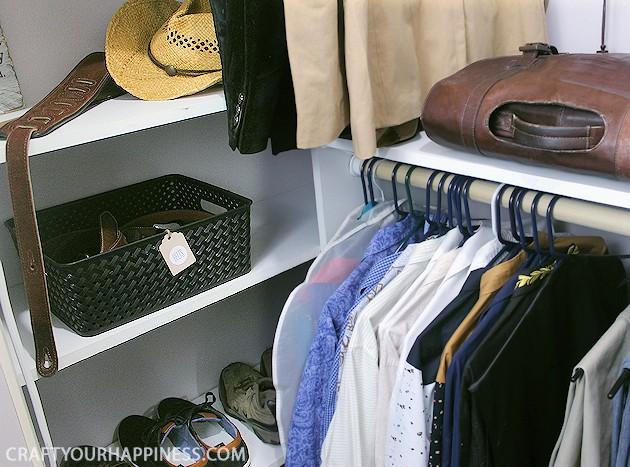 Do you need some closet organizer ideas on a budget? Want to make your closet look special? Look how we fixed up our DIY closet shelving (from our last post) to not only make it hold more, but also look spectacular! Plus, you can download our free printable bin tags.
