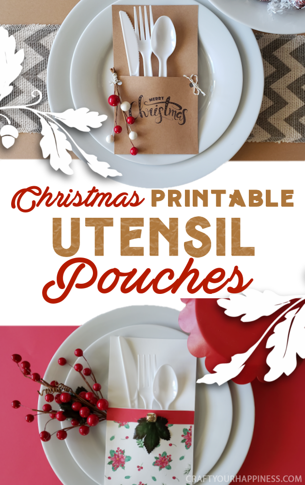 Add extra cheer to your holiday meals with our 7 FREE Christmas printables utensil pouches! Quick & easy to make, plastic utensils never looked so good!