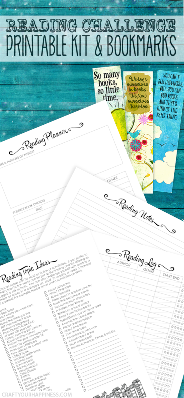 Our Free Reading Challenge Kit will help you read more and/or broaden the scope of what you read. It's filled with ideas, planners, trackers and even some inspiring bookmarks!
