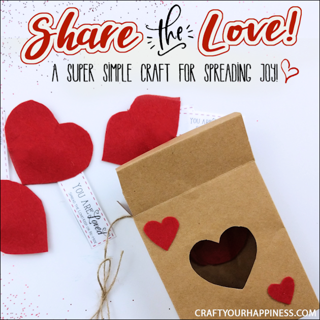 This simple Share the Love Valentines craft is for adults and children alike. It's inexpensive, meaningful and will brighten someone's day. Free pattern including a darling poem tag for giving as a gift!