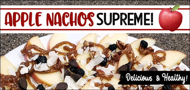 Our delicious Apple Nachos Supreme dessert recipe is perfect for parties, movie night or a healthy snack for kids. Includes our fabulous date caramel sauce!