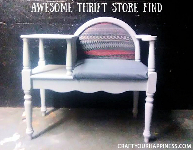 Check out this unique Thrift Store Makeover as we turn an old telephone bench we found for mere dollars into a piece of colorful retro modern furniture.