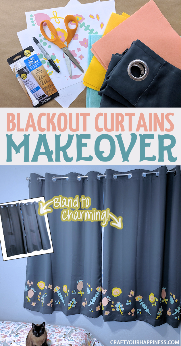 Blackout curtains are great if you sleep best in a dark room. However, room darkening curtains tend to be bland. Not any more! We'll show you how to do a simple charming and inexpensive blackout curtain makeover using some felt and fabric glue! Free pattern included!