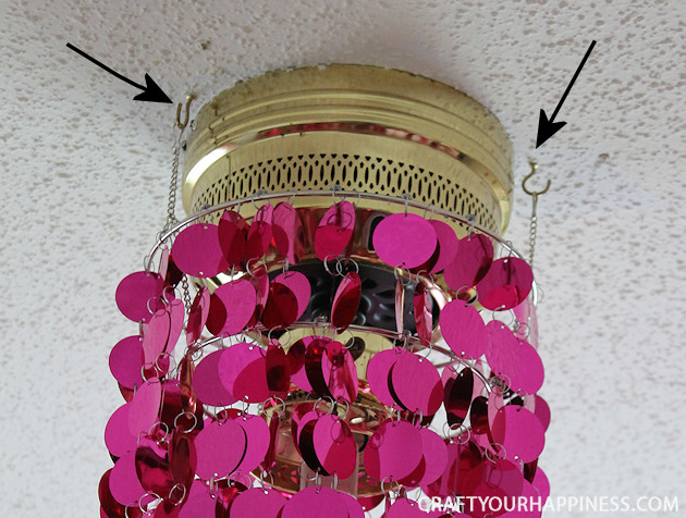 This is the one of the most simple ceiling fan makeovers ever! All you need is some ceiling party bling! Three mini hooks and voila! Gorgeous ceiling light!